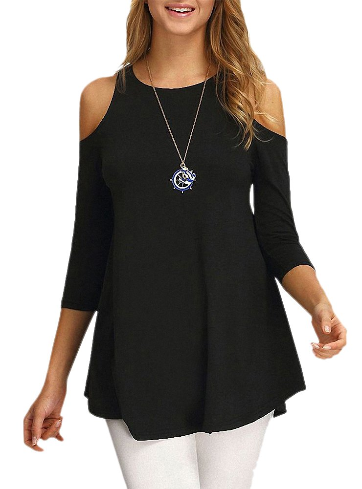 Afibi Women's Casual Cold Shoulder Half Sleeve Loose Tunic Blouse Tops (Large, Black)