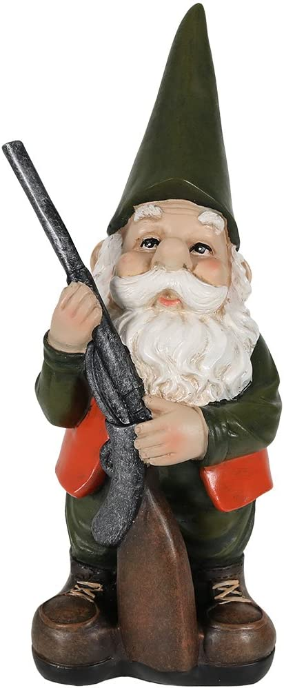 Sunnydaze Garden Gnome Hank The Hunting Lawn Statue, Outdoor Yard Ornament, 12 Inch Tall
