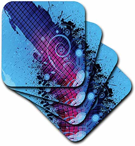 Anne Marie Baugh - Abstract - Black and Purple Squares Overlaid With Blue Flourishes and Splatter - set of 4 Ceramic Tile Coasters (cst_235887_3)