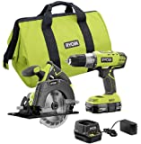 RYOBI P1985 18V ONE+ Drill and Circular Saw Kit with 2.0 Ah Battery and Charger