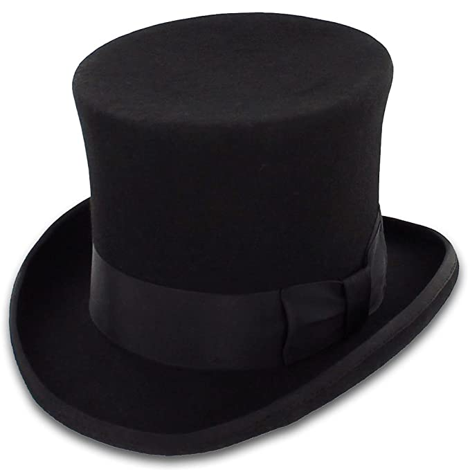 Men's Steampunk Costume Essentials Belfry John Bull Theater-Quality Men's Wool Felt Top Hat in Gray or Black $69.00 AT vintagedancer.com