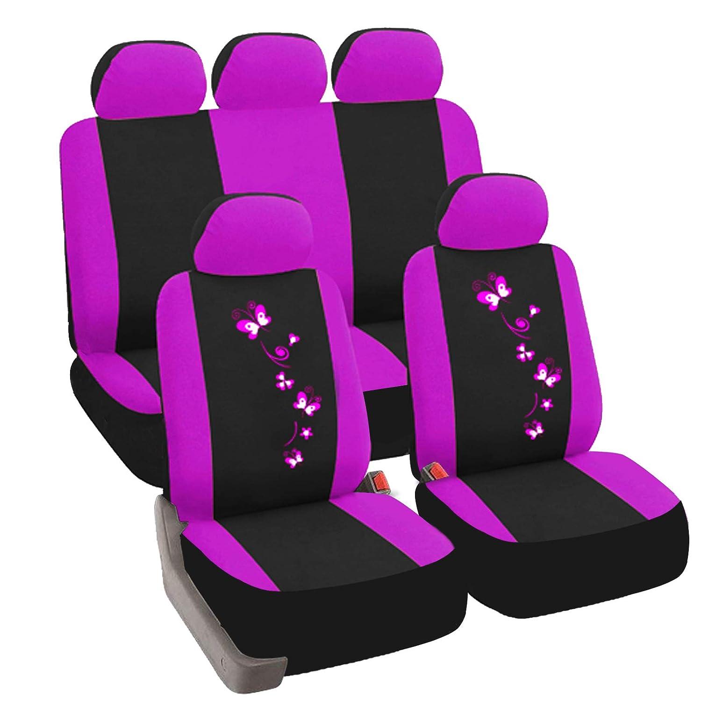 eSituro Funda de Asiento de Coche Universal Set de Fundas de Asiento para autom/óvil con Mariposa Flor Negro Violeta SCSC0063