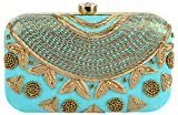 Tooba Handicraft Party Wear Hand Embroidered Box Clutch Bag Purse Potli For Bridal, Casual, Party , Wedding ( sky blue sequence necklace 6x4)