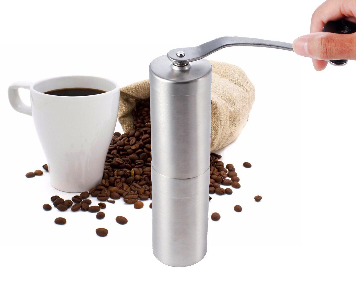 Manual Coffee Grinder, Conical Burr Mill, Brushed Stainless Steel Premium Quality Stainless Steel Manual Coffee Grinder - Portable Burr Coffee Grinder - Lightweight Grinding - Ceramic 1 service