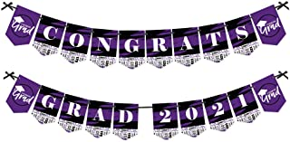 product image for Big Dot of Happiness Purple Grad - Best is Yet to Come - Purple Graduation Party Bunting Banner - Party Decorations - Congrats Grad 2021
