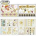 RUNFON 15 sheet Premium Metallic Tattoos - Shimmer Temporary Jewelry Tattoo - Flowers, Elephants,Cross, Skull and Bracelets
