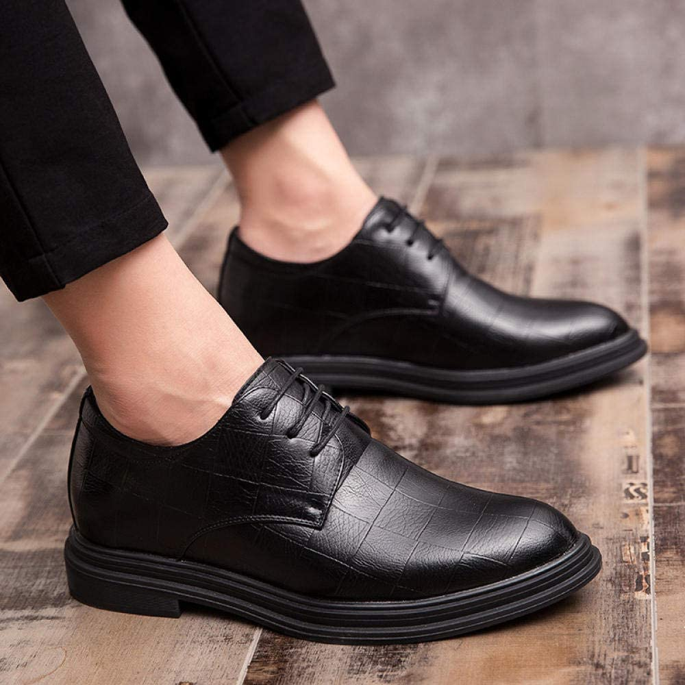 Shoes for Men Invisible Heightening Men's Shoes Business Dress Shoes England Men's Pointed Lace Casual Shoes Black