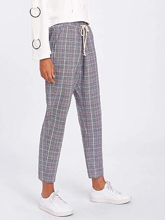 f27c5fa568c3 Amazon.com: MTOFAGF Shein Drawstring Detail Plaid Peg Pants MTOFAGF Brings  You The Best (Color : Grey, Size : S): Home & Kitchen