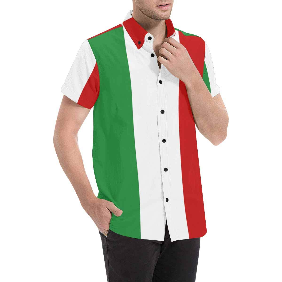 InterestPrint Mens Italy Flag Short Sleeve Shirt S-5XL