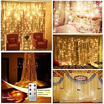 Remote Curtain Lights with Diamond Pendant,Yoyokit 9.8ft x 9.8ft 300LED 8 Modes Indoor Outdoor Fairy String Light Curtains for Wedding Bedroom Bed Canopy Christmas Holiday Party (Diamond)