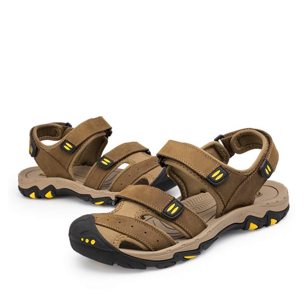 YYAMO Sandali da Uomo Moda Estate Marrone Chiaro Beach Sandali da Uomo in Vera Pelle/Traspirante/Scarpe Casual Uomo Plus Size 38-47 Sport Outdoor Escursionismo Walking