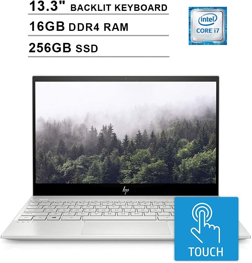 2020 HP Envy 13.3 Inch 4K IPS Touchscreen Laptop (Intel Quad Core i7-8565U up to 4.6 GHz, 16GB RAM, 256GB PCIe SSD, NVIDIA GeForce MX250, Backlit Keyboard, WiFi, Bluetooth, HDMI, Windows 10 Home)