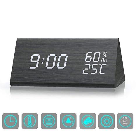 ZHENROG Reloj Digital,Reloj Despertador con 3 Alarmas Programables,Pantalla LED de Fecha,
