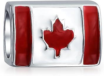 Bling Jewelry Canadian Flag Bead Sterling Silver Barrel Charm UZEygM