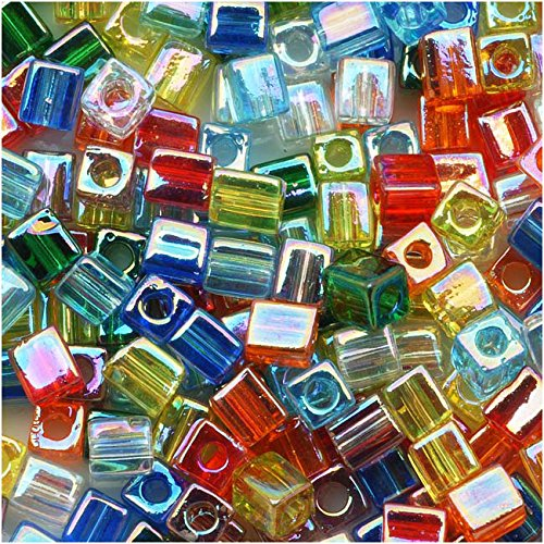 Miyuki 4mm Glass Cube Bead Mix Transparent Rainbow AB 10 Grams -