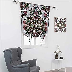 """Roman Shades for Windows Oriental Room Darken Curtains Medieval Design Swirls 35"""" Wide by 64"""" Long"""