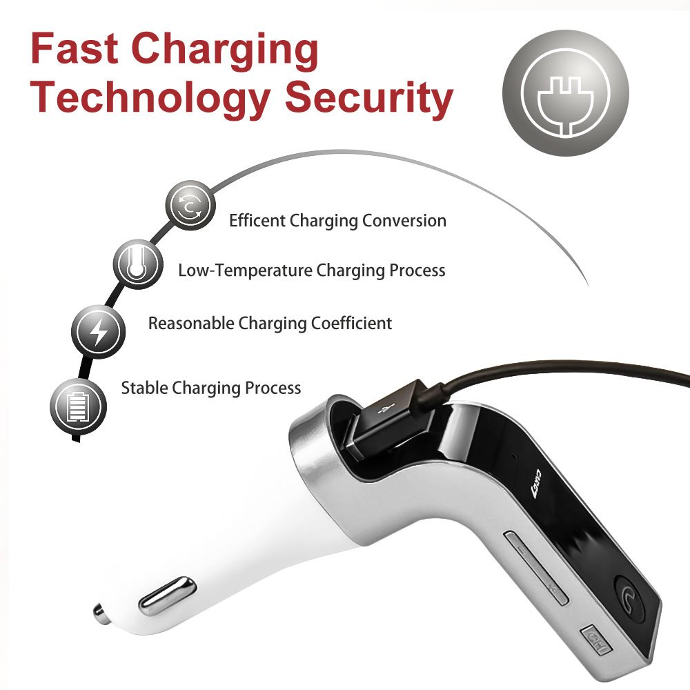 Bluetooth FM TransmitterCectdigi Wireless Bluetooth FM Transmitter for car,L Design in-Car FM Radio Adapter Car Kit with USB Charging for Smartphone Silver G7