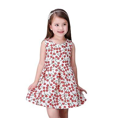 a5583f931 Amazon.com  Valentina Girls Princess Dress Sleeveless Cherry Print ...