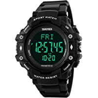 SKMEI Mens Heart Rate Sport Watch Military Waterproof Pedometer Watch