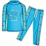 TFJH E Kids Boys Swimsuit UPF 50+ UV Sun Protective 2PCS Swimwear Short/Long Sleeve