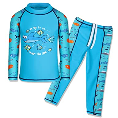 1654cc45f16cf TFJH E Toddler Baby Boys Long Sleeve Swimsuit UV 50+ Rash Guard Suit Fish,
