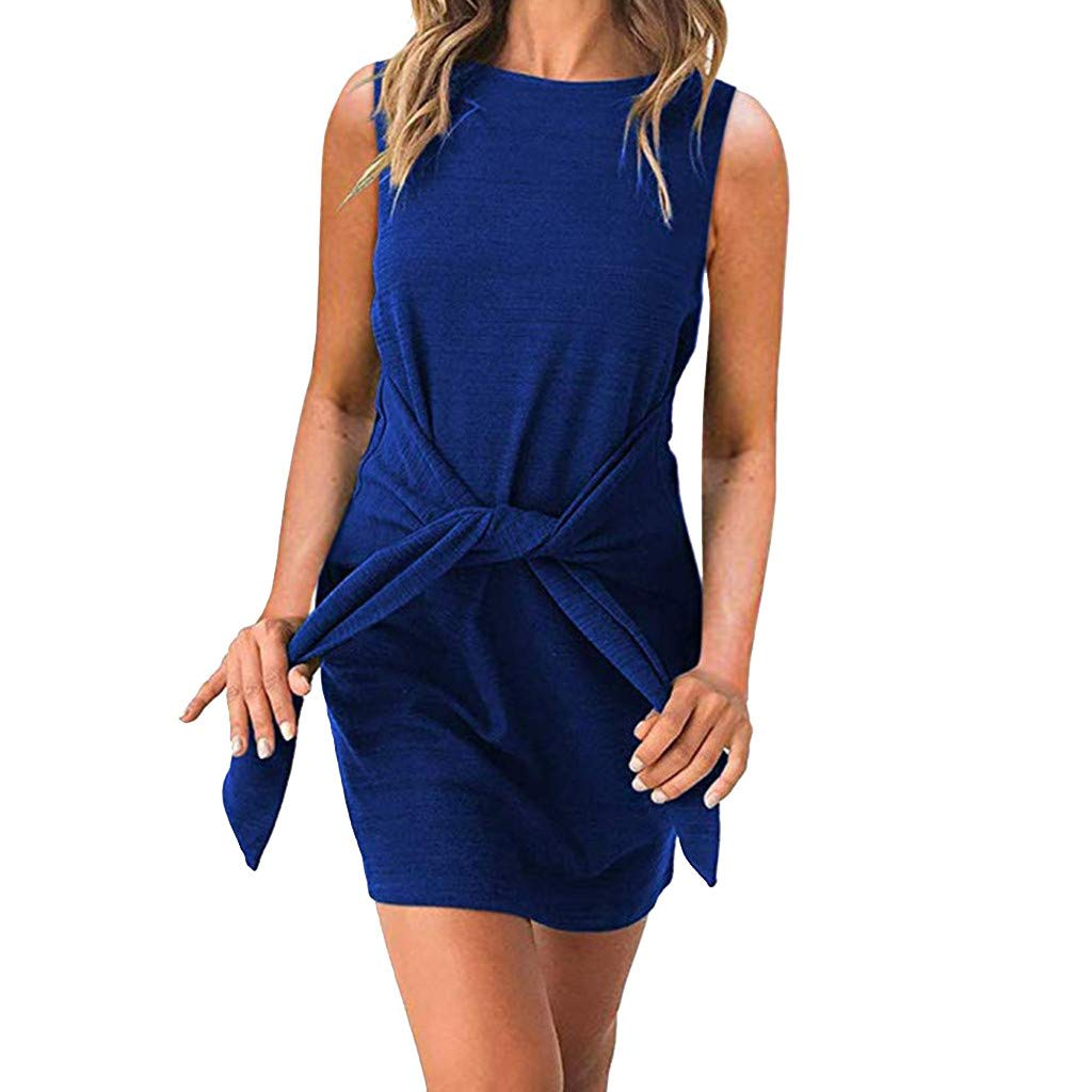 wodceeke Women's Crew Neck Sleeveless Tie Knot Front Bandage Solid Color Party Mini Dress(Blue,L)