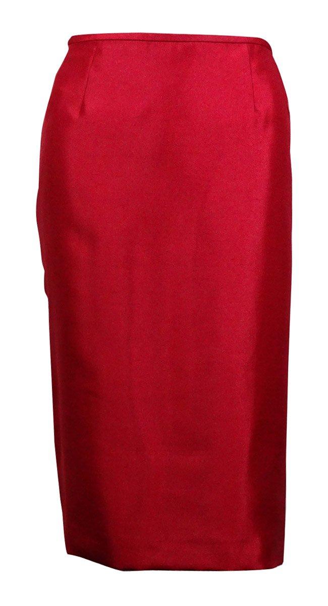 Le Suit Women's Prague 3-Button Dupioni Skirt Suit (10P, Crimson) by Le Suit (Image #2)
