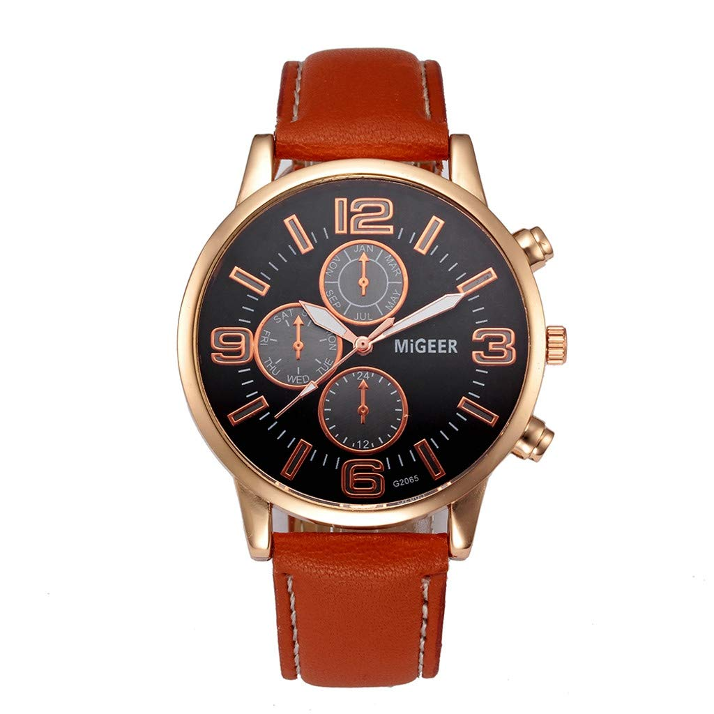 Men Watches Under 10,Classic New Men Watch Wrist Watch Leather Strap Quartz Casual Watches,Orange