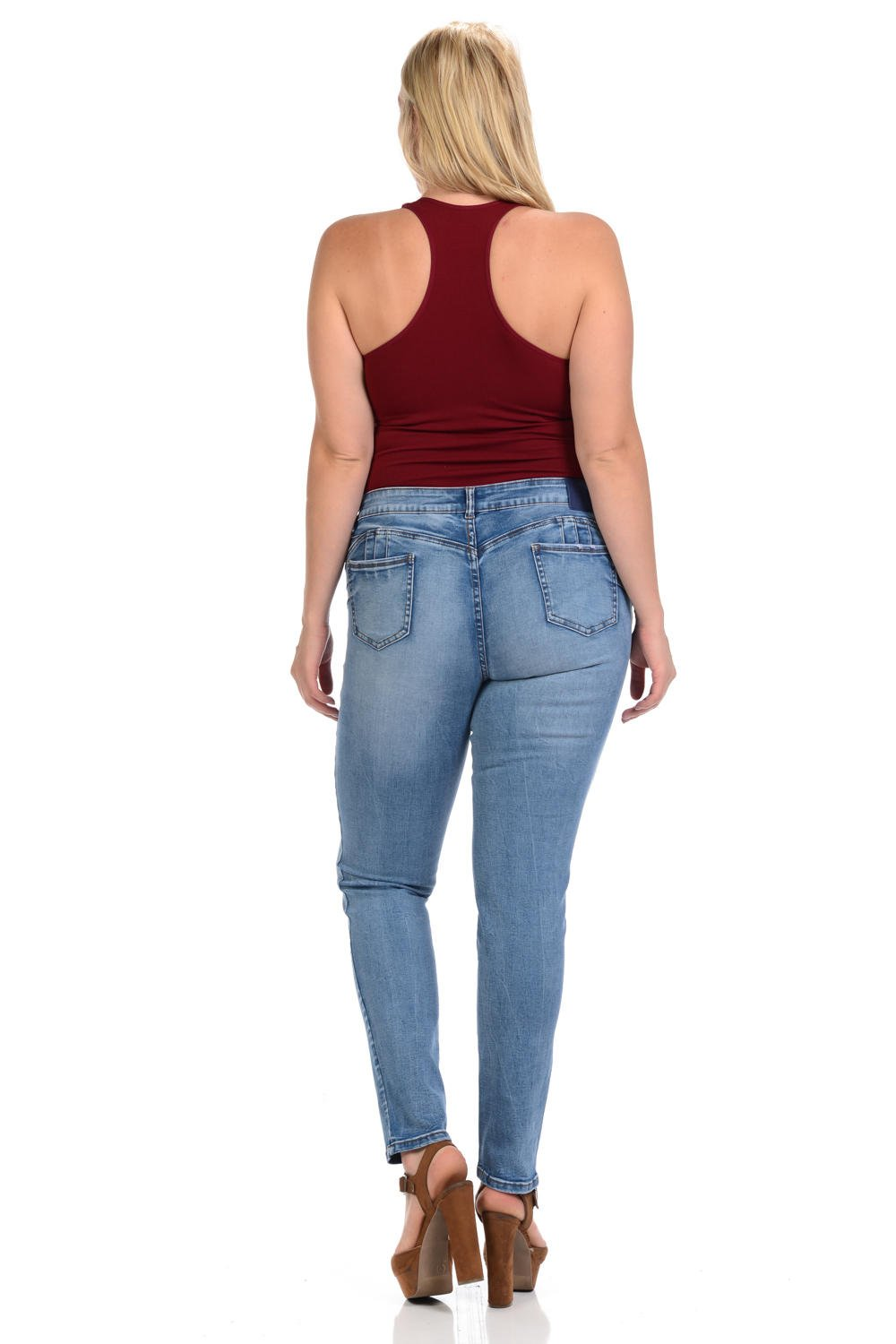 Sweet Look Black Edition Women's Jeans · Plus Size · High Waist · Push Up · Style A283 · Blue · Size 18 by Sweet Look (Image #3)