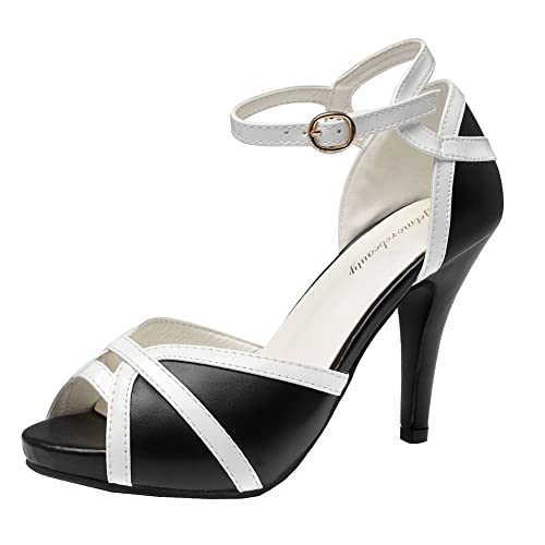 57bfaefce149c getmorebeauty Women's White Black Peep Toes Buckle Dress Heeled Sandals