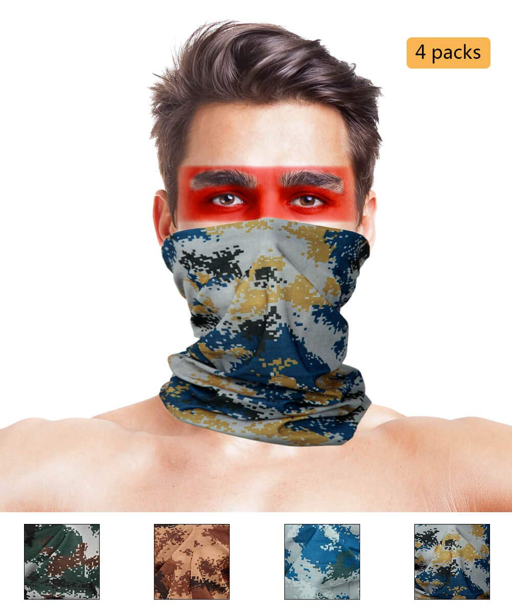 LOOGU 12-in-1 Headband Hunting Blind Tree Camo Multifunctional Seamless Bandanas Headwear (07 Digital 4-1, 9.5 x 19 Inches / 24 x 49 cm)