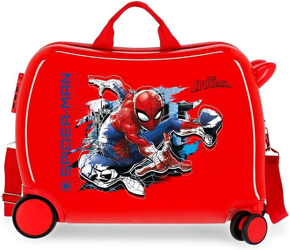 Marvel Spiderman Geo Maleta Infantil Rojo 50x38x20 cms Rígida ABS Cierre combinación 34L 2,1Kgs 4 Ruedas Equipaje de Mano