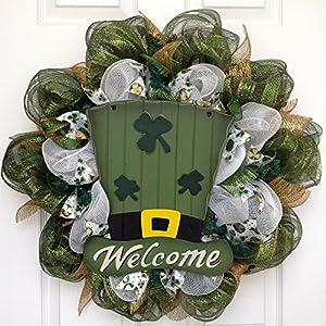 St Patricks Day Leprechaun Hat Handmade Deco Mesh Wreath 13
