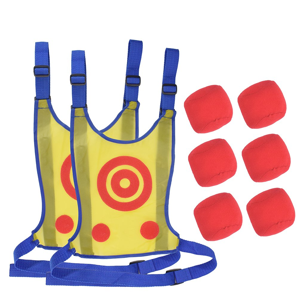 OUTFANDIA 2 Pack Kids Dodgeball Tag Sticky Vest Set Outdoor Throwing Target Game with 1 Sticky Target Vest & 3 Handballs