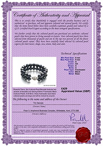 Noir 8-9mm A-qualité perles d'eau douce -Bracelet de perles