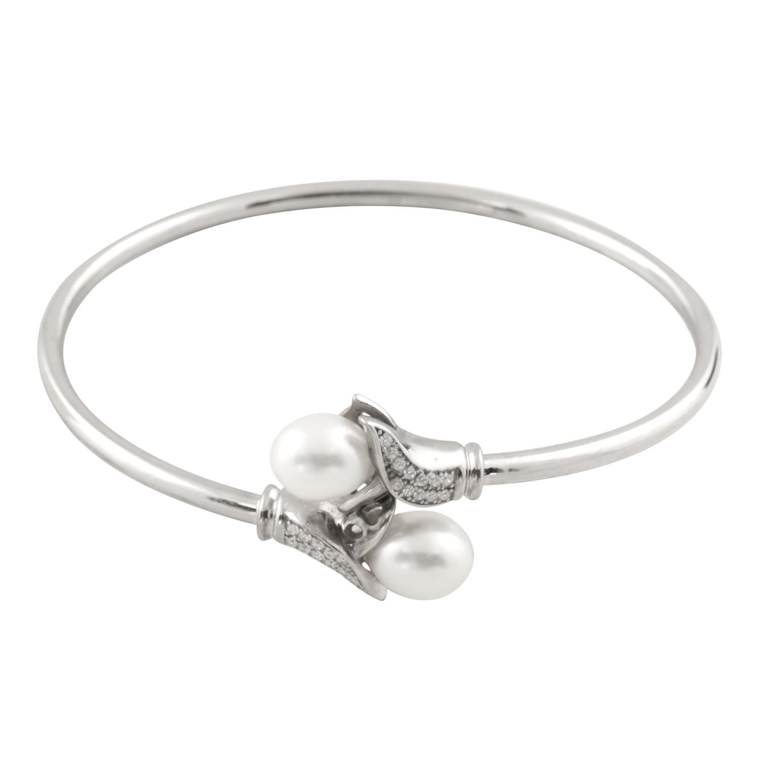 Handpicked AAA 13-15 Half-Drilled Keshi Cultured Pearls Rhodium-plated 925 Sterling Silver Flex Bangle 7