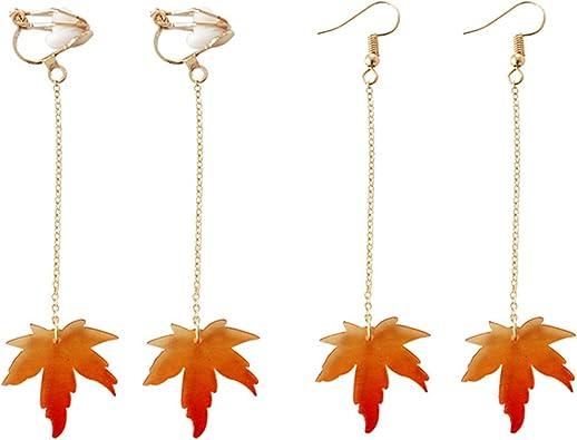 Real Japanese Maple Jewelry Resin Jewelry Resin Tear Drop Necklace Resin Tear Drop Dangle Earrings Tear Drop Necklace and Earrings .
