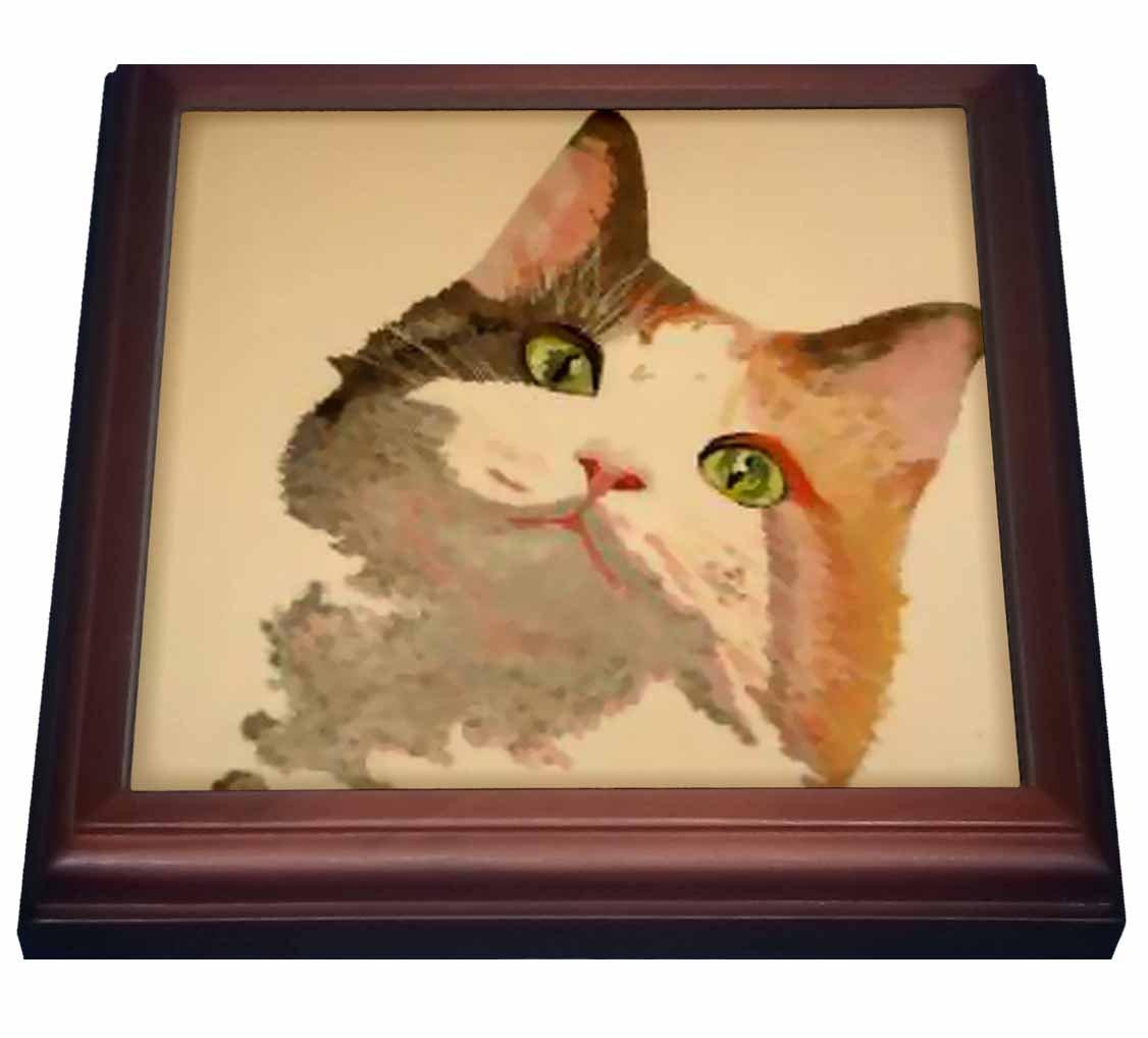 8 x 8 3dRose trv/_18257/_1 Cat Tabby Cat-Trivet with Ceramic Tile Brown