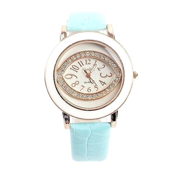 Kezi Manera Las Mujeres Gafas Diamantes Linea Cuarzo Reloj Digital Verde: Amazon.es: Relojes
