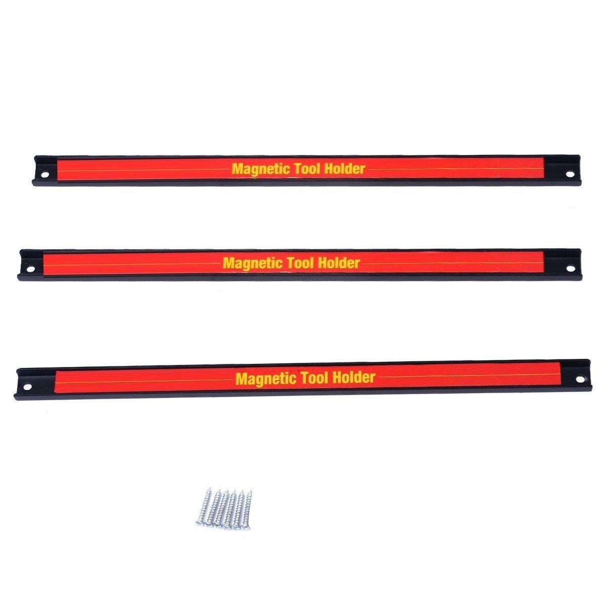 Goplus 3 PCS 18'' Magnetic Tool Holder Bar Organizer Storage Rack Knife Wrench Pilers