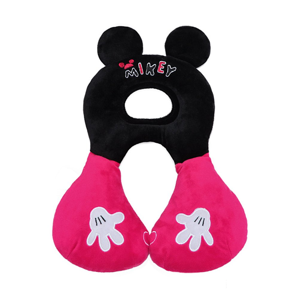 Inchant Baby Head Neck Support Travel Pillow for Car seat,Function-Stroller,Christmas Gift for 1-4 Years Toddlers( Rose Red and Black)