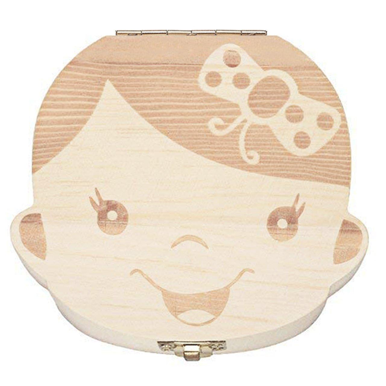 Mogoko Baby Girl Teeth Save Boxes Wooden Deciduous Souvenir Box Girl, Spanish; Customized Personalized Name Engraved Baby Child Tooth Keepsake Holder Organizer