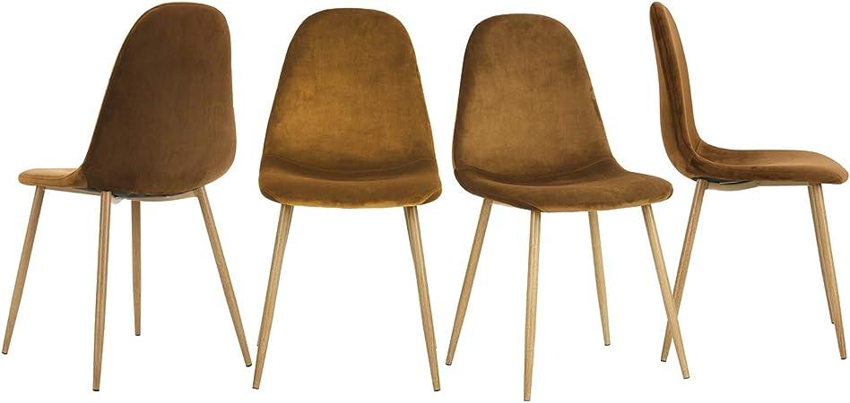 velours pieds de salle en doux assise robuste en pour manger métal Fanilife avec 4 chaises de dossier et salon à et cuisine Lot CxQrdoeWBE