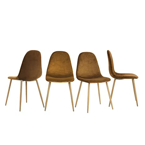 Set de 4 sillas de comedor Fanilife, asientos y respaldos de ...