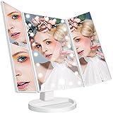 Specchio Trucco Ingradimento 1X / 2X / 3X Specchio Luminoso con 21 LED USB 180 Gradi Girevole Specchio Triplicare Pieghevole a Tre Facce, Ideale per Viaggio, Lavoro, Bellezza, Rasatura, Colore Bianco