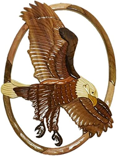 Handmade Art Intarsia Wooden Wall Plaque – Flying Eagle 019