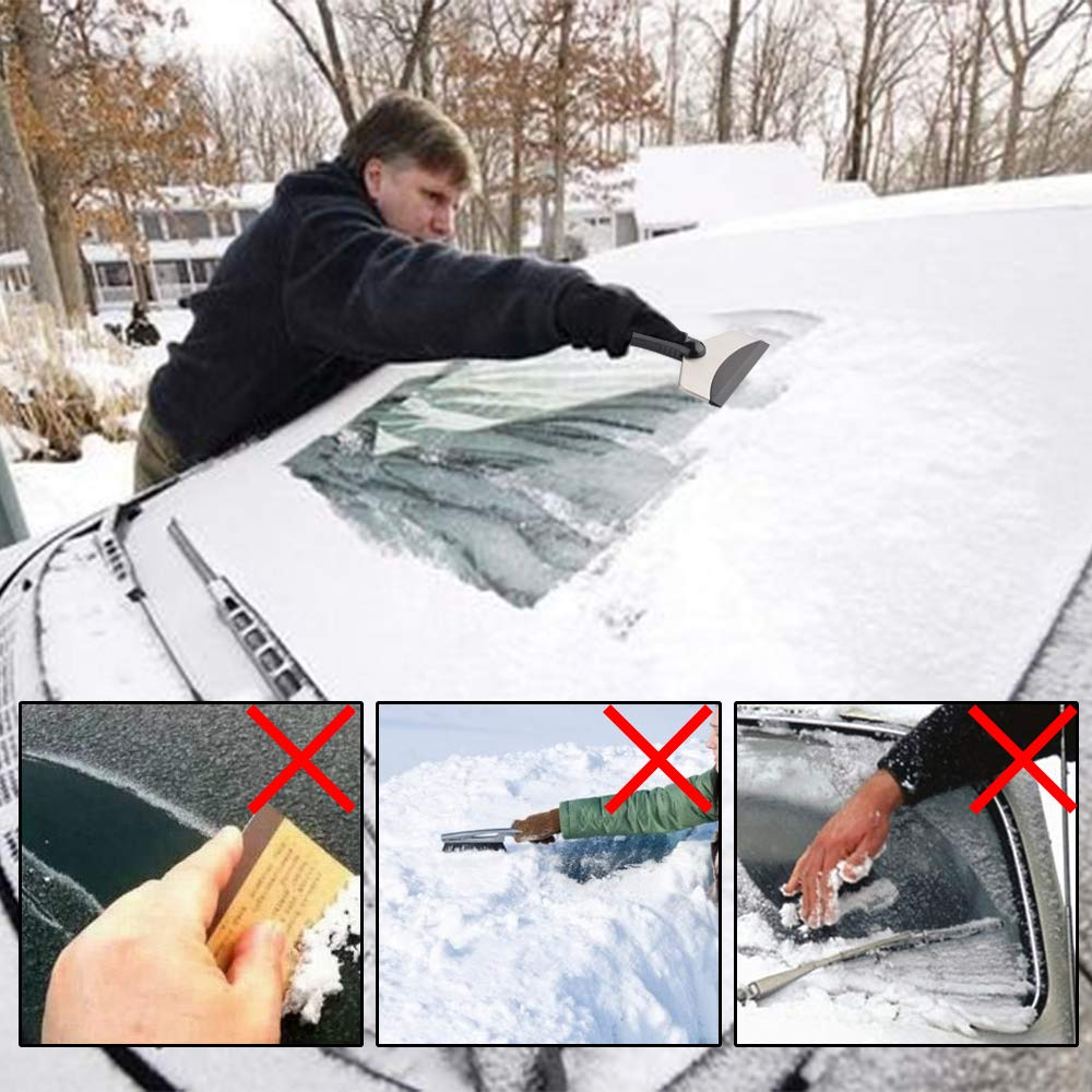 CM Snow Ice Scraper Rubber Blade Freeze Resistant Frost Snow Remova Tool for Car Windshield and Window 2 Pcs