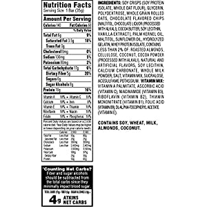 Atkins Snack Bars, Chocolate Chip Crisp, 10g Protein, 0g Sugar, 4g Net Carbs, 6.17-Ounce, 5-Bars (Packaging May Vary)