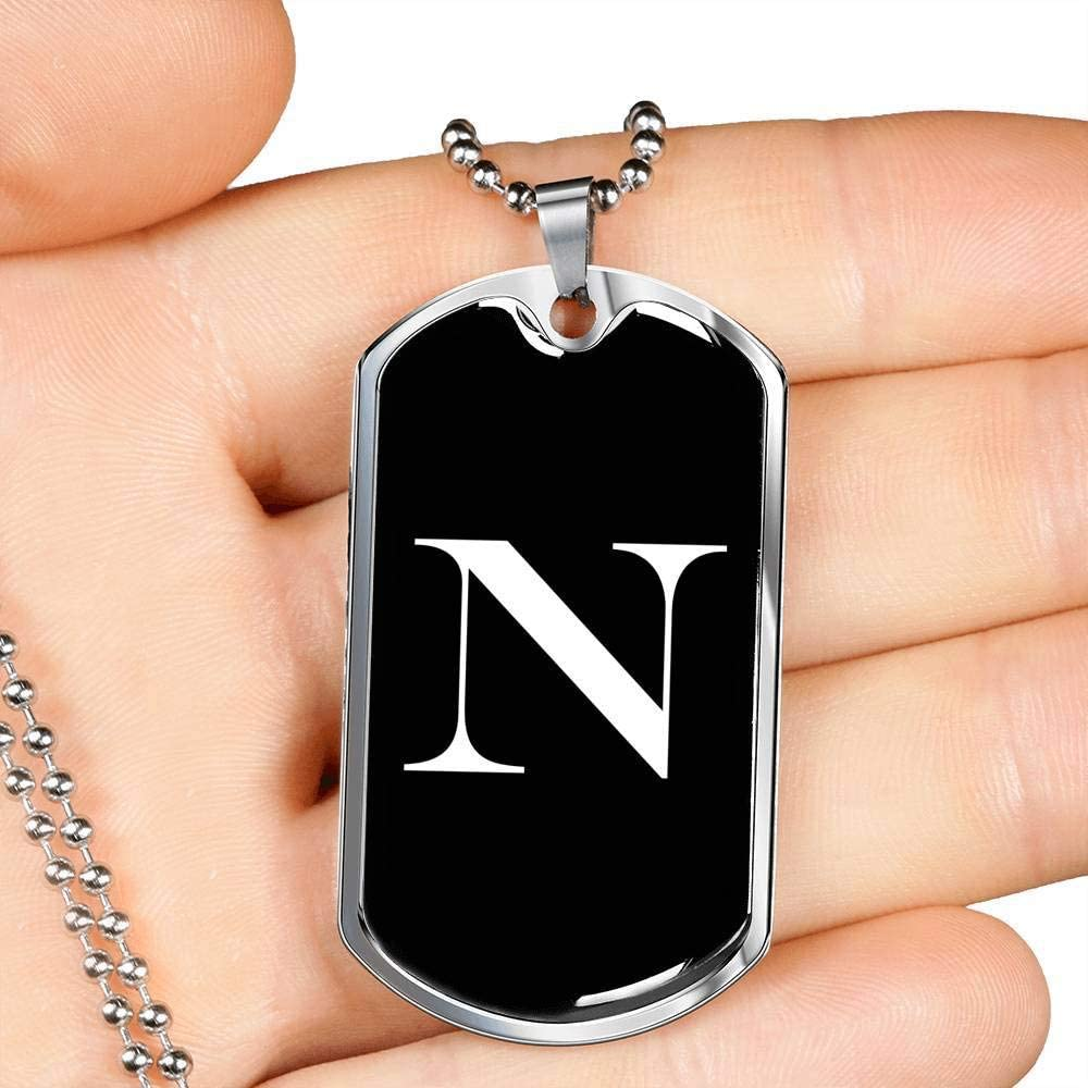 Luxury Dog Tag Necklace Personalized Name Gifts Initial N v3a
