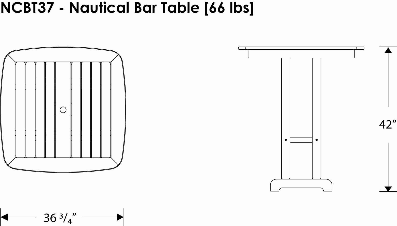 POLYWOOD NCBT37WH Nautical Bar Table, 37-Inch, White by POLYWOOD (Image #3)